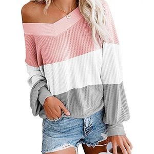 Sweaters - Striped Pullover Waffle Knit Sweater